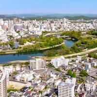 岡山市中区上空から望む市街地